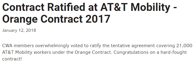Contract Ratified at AT&T Mobility